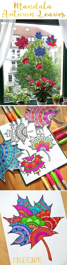 Gorgeous Mandala Autumn Leaves to color and craft! They look gorgeous as Sun Catchers or Wall Decor! | by Hattifant #autumcraft #mandala #leaf #Coloringpage