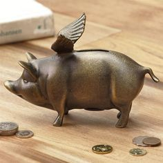 Winged Wonder Piggy Bank Metal Whimsical Flying Pig Bronze Finish Bank #Whimsical