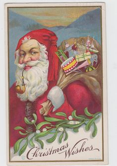 Santa Smoking Pipe Toys JEP James E Pitts Artist Signed Christmas 1914 Postcard | eBay