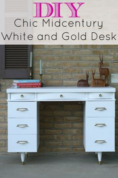 white and gold midcentury desk with #generalfinishes snow white and rub n buff