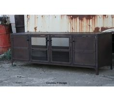 Media Console/Credenza.  Vintage Industrial/Mid Century Modern Design. Buffet/Hutch. Reclaimed Wood. , $1600.0