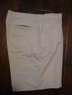 Men's Izod Flat Front XFG Golf Shorts Size 36 Beige Vented #IZOD #FlatFront