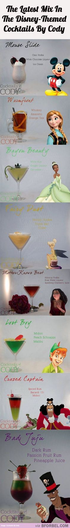 8 Disney-Themed party drink Cocktails bet we can figure out how to do mocktails Disney Cocktails, Cocktail Disney, Disney Desserts, Disney Food, Disney Recipes, Party Drinks, Cocktail Drinks, Drunk Party, Drink Bar