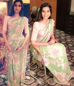 Sonam Kapoor in a Shehla Khan saree with a boat-necked blouse
