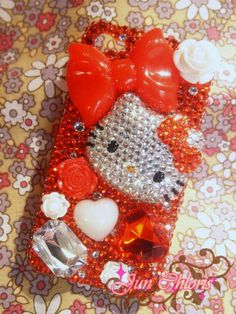 Adorable RED Hello KITTY with Bow & Rose Bling Bling Case / Back Cover for iPhone 4