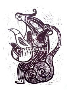 Woodcut Hiromi Sumida        「鳥飼の少女」