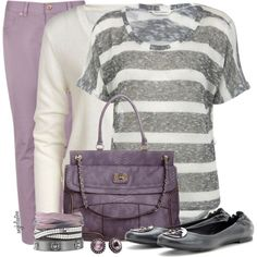 classy purple and grey combination. love this outfit!