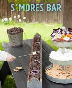 Garden party - Perfect Summer DIY for a S'mores bar on your backyard table! This is the perfect summer party show-stopper and the tabletop roasting is safer for little kids, than a fire pit. Camping Parties, Grad Parties, Summer Parties, Outdoor Parties, Summer Bash, Outdoor Party Decor, Outdoor Party Foods, Outdoor Movie Party, Outdoor Graduation Parties