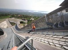 Fly down the zipline in Holmenkollen from the top of the jump tower to the bottom of the hill - 361 metres of adrenaline, with an elevation drop...