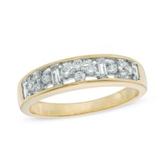 On your wedding day, anniversary, or any special occasion, present her with a diamond band that represents an eternity of love. Crafted in warm 10K gold, this lovely design is set with quartets of glittering round diamonds alternating with channel-set baguette-cut diamonds. Radiant with 1/3 ct. t.w. of diamonds and a bright polished shine, this band celebrates your romantic love story.