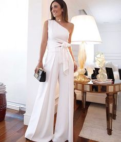 Fashion Pure Colour Off-Shoulder Jumpsuit White Outfits, Sexy Outfits, Bridal Jumpsuit, Off Shoulder Jumpsuit, Evening Dresses, Summer Dresses, Pinterest Fashion, Mode Outfits, Mode Style