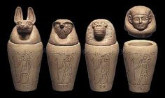 Canopic jars were used by the Ancient Egyptians during the mummification process to store and preserve the viscera of their owner for the afterlife