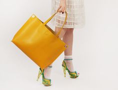 """Large Tote Bag """"Michelle Honey"""", Yellow Crossbody Tote, Mustard Crossbody Shopping Bag, Buttercup Yellow Bag, Large Leather Bag, Laptop Bag"""