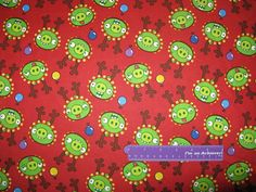 ANGRY BIRDS Christmas Reindeer Pigs Video Game Cotton Fabric By The Half Yard by DaMommasTextiles on Etsy