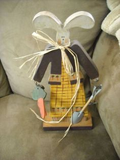 """12"""" primitive country  wood bunny decoration easter for sale in my store The Chic N Prim cottage ebay have to put in the """"the """" in search engine $10 FREE Shipping when you spend $30 or more!spring garden hand painted"""