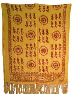 Om Hare Rama Hare Krishna Gayartri Mantra Meditation Yoga Prayer Shawl (Yellow) Rajastan Cottage. $29.00