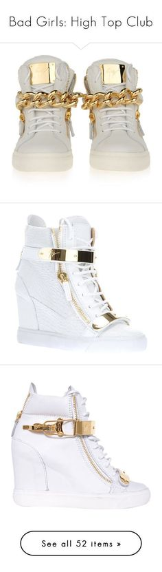 """Bad Girls: High Top Club"" by jaiirie ❤ liked on Polyvore featuring shoes, sneakers, giuseppe zanotti, giuseppe zanotti sneakers, giuseppe zanotti trainers, giuseppe zanotti shoes, heels, white, leather wedge sneakers and white sneakers #giuseppezanottiheelswhite"
