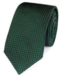 Forest green silk plain grenadine luxury tie   Charles Tyrwhitt