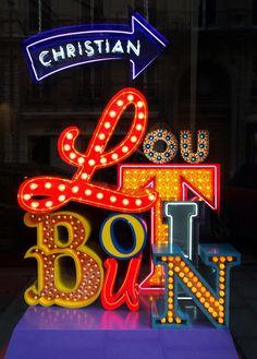Neon Graveyard Window Display for Christian Louboutin