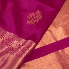 Handwoven Purple Kanjivaram Silk Saree With Nilambari Motifs & Vanashringaram Border by Subhashini 10011577 Silk Cotton Sarees, Bridal Wedding Dresses, Saree Blouse Designs, Indian Designer Wear, Indian Sarees, Indian Outfits, Hand Weaving, Dressing, Sari