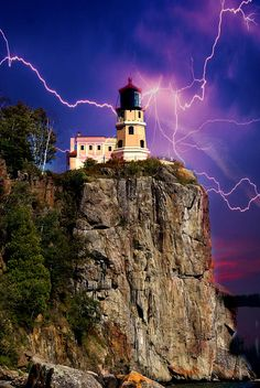 ~~Stormy night at Split Rock Lighthouse ~ stormy sky with lightning strikes,Two Harbors, Minnesota by Marty Koch~~