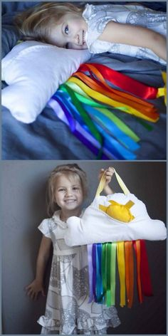 DIY Cloud and Ribbon Rainbow Pillow. I can also see this being used as a room decoration. Really easy to sew, tutorial at Prudent Baby here.
