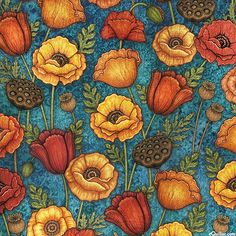 In Bloom - Poppies & Pods - Slate Blue