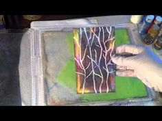 Gelli Plate printing with styrofoam and toilet paper rolls