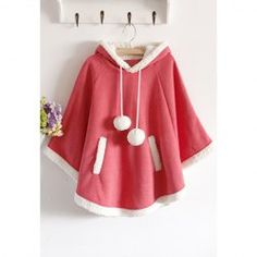 Sweet Style Scoop Neck Hooded Short Plush Embellished Cotton Fleece Cloak For Women (WATERMELON RED,ONE SIZE) | Sammydress.com Mobile