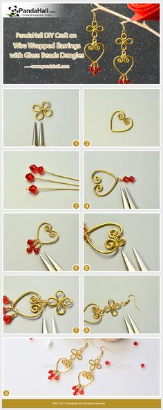 How to Make Wire Wrapped Earrings with Glass Beads Dangles Cut two pieces of wire and wrap one wire into a clover shape and another wire into a heart shape, insert headpins into red glass beads and wrap them onto the heart-shape wire and then add the clover-shape wire and earring hooks. Finally, a pair of earrings is finished!