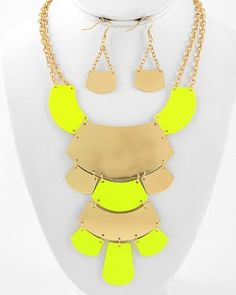just ordered this :) Neon Yellow Bib Necklace & Earrings Set Gold Statement Chunky