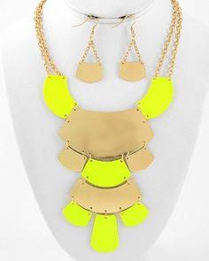 Neon Yellow Bib Necklace & Earrings Set Gold Statement Chunky