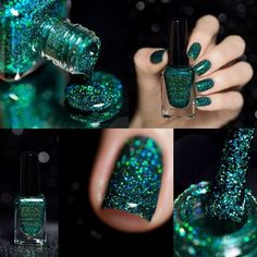 Http://Makeuplearning.Com fun lacquer, glitter nails, druzy ring, pretty ha Love Nails, How To Do Nails, My Nails, Glitter Nail Polish, Nail Polish Colors, Holographic Glitter, Polish Nails, Glitter Gel, Nail Polishes