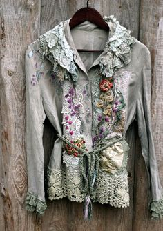 Paris memoirs- extravagant reworked vintage linen jacket, blouse, wearable art, antique laces, bohemian romantic