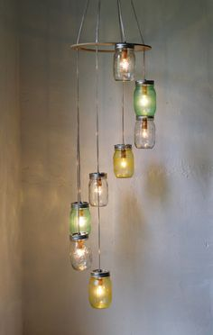 Lemon Lime Mason Jar Chandelier Upcycled Hanging by BootsNGus