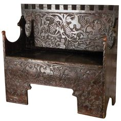 "Very Rare Late Gothic ""Flachschnitz Bench"". Unique, decorative, charming bench, front and back panels with intricate and whimsical ""flachschnitz"" decoration, plain sides,  lift top seat to reveal storage space. Switzerland, c 1530"