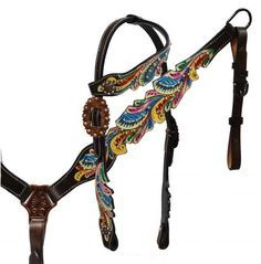 Painted filigree headstall and breast collar.