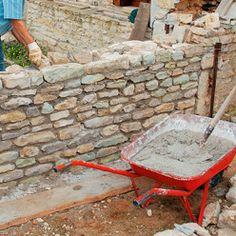 Brick Design, Fence Design, Building A Stone Wall, Stone Cabin, Rock Garden Design, Stone Fence, Dry Stone, Home Vegetable Garden, Tree Sculpture