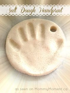 DIY Salt Dough Handprint, just did this it turned out beautiful! Make sure your oven is at like 205 degrees :)