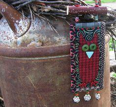 owl miniature quilt  OOAK  folk art wildlife by gonetoseed on Etsy