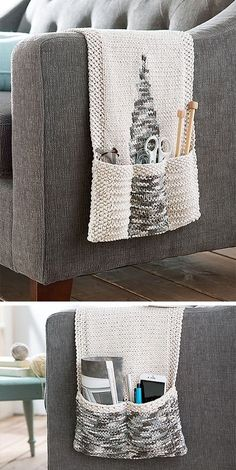 Knitting pattern for Chair Caddy - Pocket organizer hangs over the arm of chair ., Knitting pattern for Chair Caddy - Pocket organizer hangs over the arm of chair . Knitting pattern for Chair Caddy - Pocket organizer hangs over the. Easy Knitting Projects, Yarn Projects, Knitting For Beginners, Crochet Projects, Sewing Projects, Knitting Ideas, Sewing Tools, Sewing Diy, Sewing Crafts