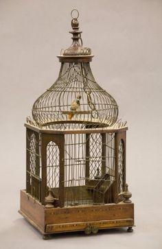 195: Regency walnut inlaid bird cage. The turned finial : Lot 195