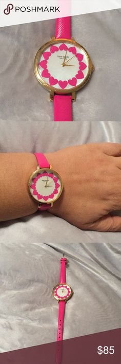 Kate spade watch in hot pink Hot pink kate spade watch with heart detail. Thin leather strap kate spade Accessories Watches