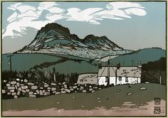 Moel y Gest. Linocut by Ian Phillips