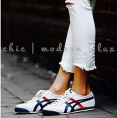 ASICS Mexico 66 Onitsuka🐯Lace up Price Firm  Women's iconic Mexico 66 est.1966  debuted at the 1968 Olympic games pre-trials in Mexico-a premium white leather stitched w/red,blue tiger stripes full-grain leather treatment on side panels & tiger stripes, while the heel & toecap are finished off w/smooth suede, accompanied by natural leather heel tab  branded w/the Onitsuka Tiger MEXICO 66 D507L-0152 WHITE/DARK BLUE FULL GRAIN LEATHER UPPER  Rare DIFFICULT FIND IN THE U.S. Ladies size 11…