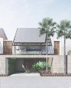 New tree architecture facade architects Ideas Tropical Architecture, Facade Architecture, Residential Architecture, Origami Architecture, Modern Tropical House, Tropical Houses, Modern House Design, Facade Design, Exterior Design