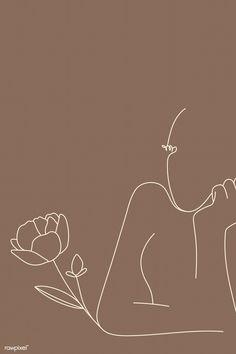 Feminine line art vector Beige Wallpaper, Iphone Background Wallpaper, Aesthetic Iphone Wallpaper, Aesthetic Wallpapers, Vector Background, Beige Aesthetic, Aesthetic Art, Simple Aesthetic, Fond Design