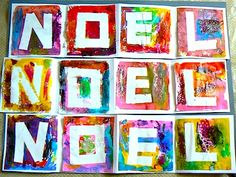 Painters tape the letters on card stock or even small square canvas, and paint any color. Just adorable framed in one frame-to use every year
