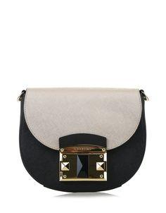 Černá kožená kabelka se zlatou klopou Cromia  crossbody  kuzesaffiano 350e686b5a