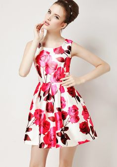 Beautiful Refreshing Rose Print High Waist Fit-and-Flare Dress - Lalalilo.com Shopping - The Best Deals on Women's Dresses